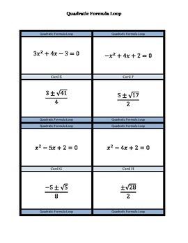 Quadratic Formula Loop