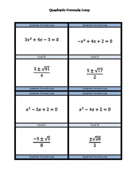 Quadratic Formula Loop