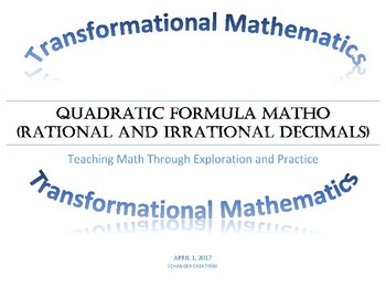 Quadratic Formula MATHO (Math BINGO!)