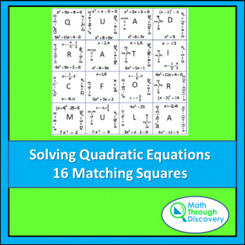 Algebra:  Match the Squares Puzzle- Solving Quadratic Equa