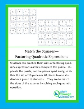Match the Squares Puzzle-Factoring Quadratic Expressions-16/20 Cards