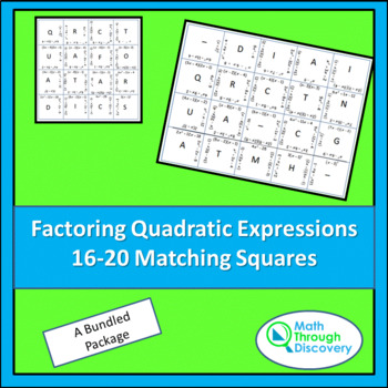 Match the Squares Puzzle- Factoring Quadratic Expressions