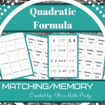 Quadratic Formula - Matching/Memory Game