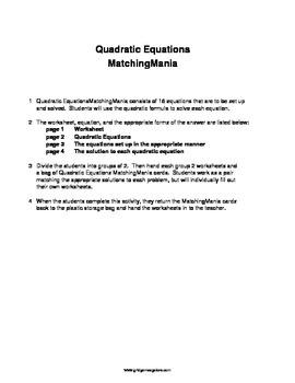 Quadratic Formula MatchingMania
