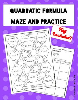 Quadratic Formula Maze and Practice