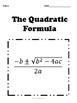 Quadratic Formula No Prep Lesson