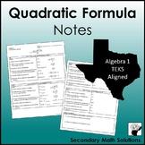 Quadratic Formula Notes (A8A)