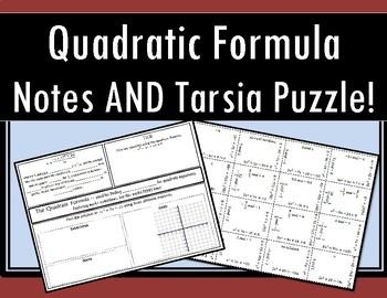 Quadratic Formula - Notes AND Tarsia Puzzle!