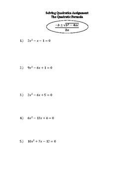 Quadratic Formula Notes, Activity, and Homework