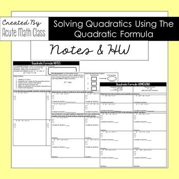 Quadratic Formula Notes & HW