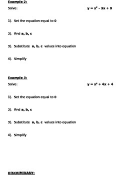 Quadratic Formula Notes and Assignments