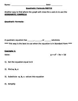 Quadratic Formula Notes and Assignments