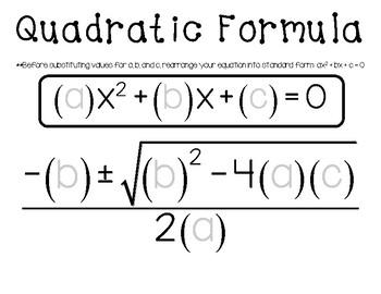 Quadratic Formula Placemat