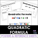 Quadratic Formula - Posters and Reference Sheet