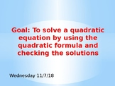 Quadratic Formula PowerPoint for Guided Notes