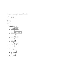Quadratic Formula Problems & Solutions 1 to 20