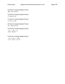 Quadratic Formula Problems & Solutions 21 to 40