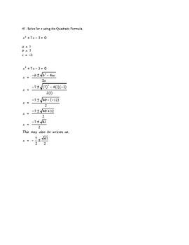 Quadratic Formula Problems & Solutions 41 to 50