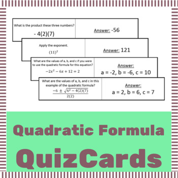 Quadratic Formula Quiz Cards (Flash Card Activity)