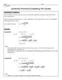 Quadratic Formula Regents Review (Notes & Practice Questions)