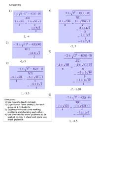 Quadratic Formula Round Table 6 Problems with Answers