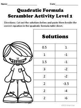 Quadratic Formula Scramble Puzzle Activity