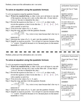 Quadratic Formula Spring 2013 - with student notes (Editable)