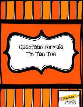 Quadratic Formula Tic Tac Toe- 3 levels