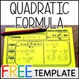 Quadratic Formula Warm Up Template