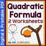 Quadratic Formula Worksheet #1 (Solving Quadratic Equations)
