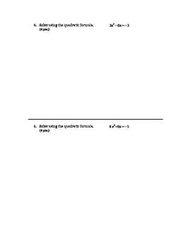 Quadratic Formula and Discriminant Quiz