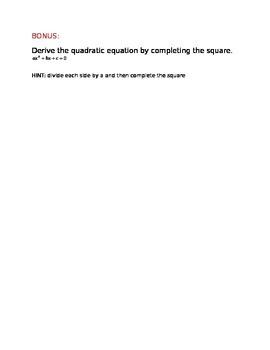 Quadratic Formula and the Discriminant Quiz