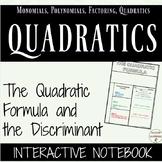 Quadratic Formula and the Discriminant for Interactive Notebooks for Algebra 2