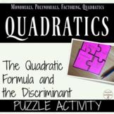 Quadratic Formula and the Discriminant Activity Puzzle for Algebra 2