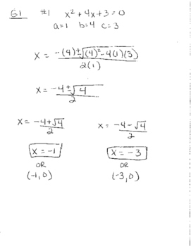 Quadratic Formula tiered lesson