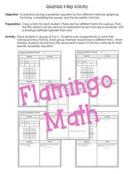 Algebra 2: Quadratic Four-Way Activity