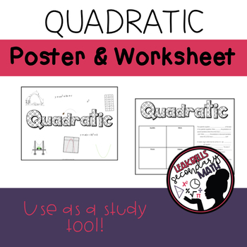 Quadratic Functions Poster and Worksheet