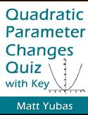 Algebra Quadratic Characteristics Quiz with Key – Vertex and Axis of Symmetry