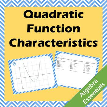 Quadratic Function Characteristics Scavenger Hunt - Vertex, Domain, Range, etc