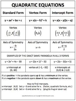 Quadratic Equation by Math to the Core | Teachers Pay Teachers