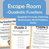 Quadratic Function Escape Room - Vertex, Factoring, Quad Formula, Discriminant