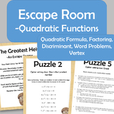 Quadratic Function Escape Room - Vertex, Factoring, Quad F