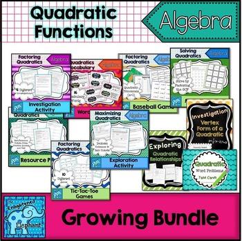 Quadratic Functions / Quadratic Equations Resources, Activities Growing Bundle
