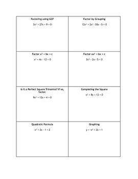 Quadratic Function Methods Study Guide