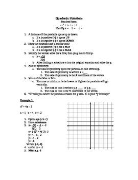 Quadratic Function: Standard Form Notes