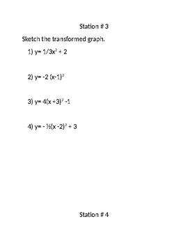 Quadratic Function Transformation Stations