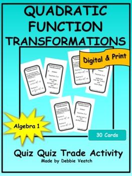 Quadratic Function Transformations Quiz Quiz Trade Activity