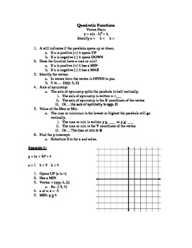 Quadratic Function: Vertex Form Notes
