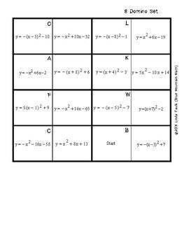 Quadratic Function Vertex Form vs Standard From Domino Set