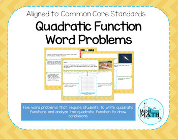 Quadratic Function Word Problems